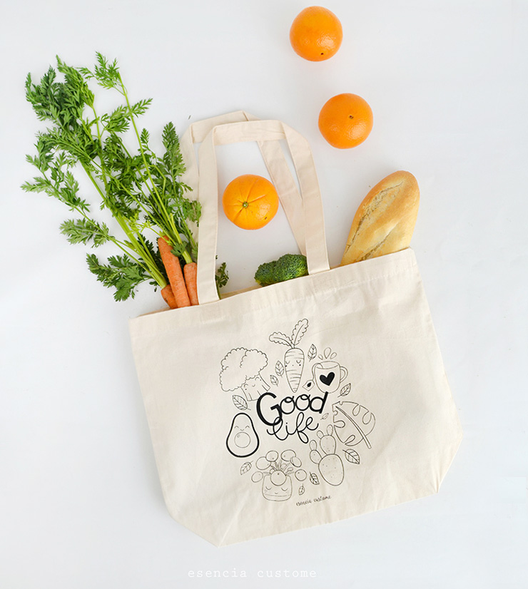 tote bag eco good life esencia custome